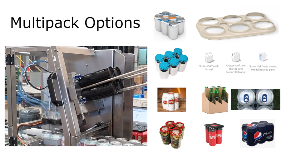 Beverage Multipacks, Beer Can Carriers and Cluster pack options.